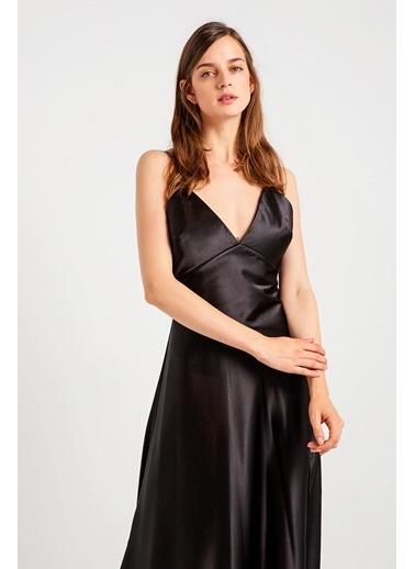 Rue İp Askılı Uzun Abiye Elbise Siyah